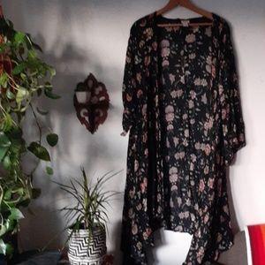 Floral kimono long flowy Black Orange Floral L/XL